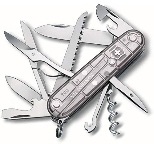 Victorinox Huntsman Taschenmesser, 15 Funktionen, Schere, Holzsäge, Korkenzieher, silber transparent B1