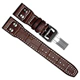 22mm Genuine Leather Watch Strap Band fit for IWC PILOT'S Watchs (Silver Buckle/Brown)