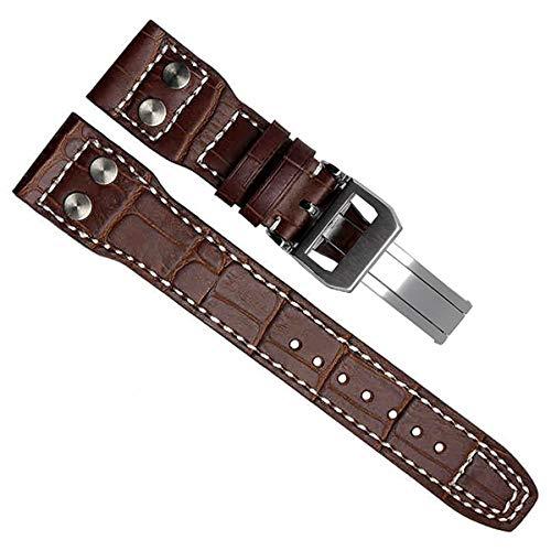 Correa de reloj de piel auténtica de 22 mm para relojes de piloto IWC