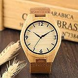 UIOXAIE Reloj de Madera Reloj de Madera conciso para Hombres Bambú Natural Hecho a Mano Diseño Minimalista Reloj para Hombre tóxico Correa de Cuero Reloj sin Madera Horas Masculinas,