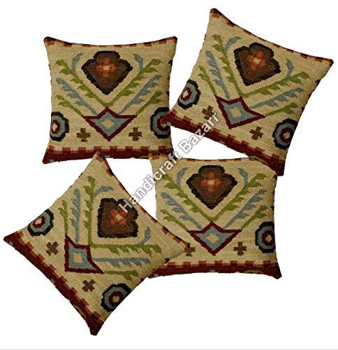 Handicraft Bazarr 4 Pcs Set Moroccan Bed Room Decor Vintage Wool Jute Pillow Case Bohemian Sham Throw Pillow Cushion Cover Tassel Tufted Pillow Cover Back Side Zipper Pillow Case 18'' x 18''
