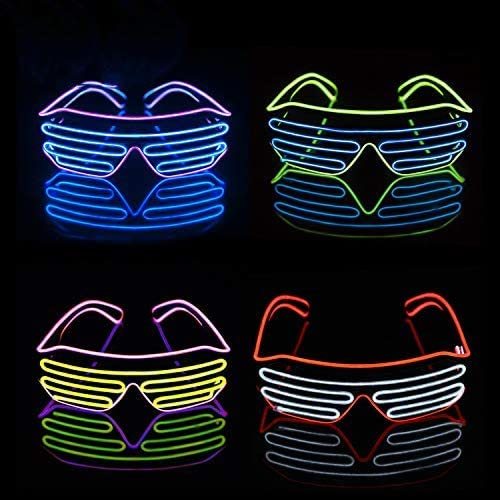 iChase LED Glasses Light Up Sunglasses EL Wire Neon Flashing Rave Costumes for Party Supplies product image