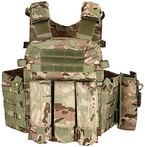 Syxfckc Caza rifle de aire militar chaleco chaleco táctico al aire libre de formación a bordo Combate Asalto portadores de hidratación bolsillos de cinta modular Molle chaleco de los hombres Seguridad