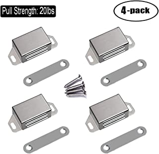 WOOCH Magnetic Door Catch - 20lb High Magnetic Stainless Steel Heavy Duty Catch for Kitchen Bathroom Cupboard Wardrobe Closet Closures Cabinet Door Drawer Latch (2.1 in Silver, 4-Pack)