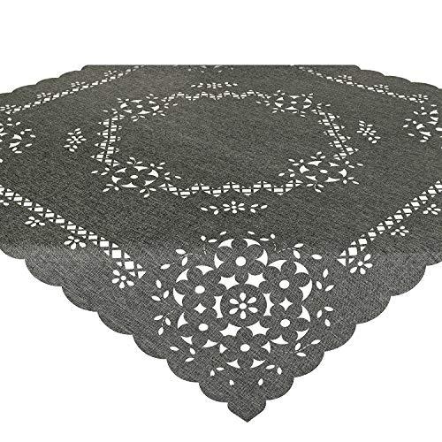 Tischdecke Bella, 85x85 cm, grau, Moderne Mitteldecke mit Lasercut