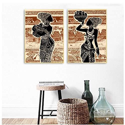 Jwqing Mooie Afrikaanse meisjes afdrukken vintage poster muurkunst canvas schilderij Afrika landschap muurschilderingen voor de woonkamer Home Decor (40x60cmx2 geen lijst)