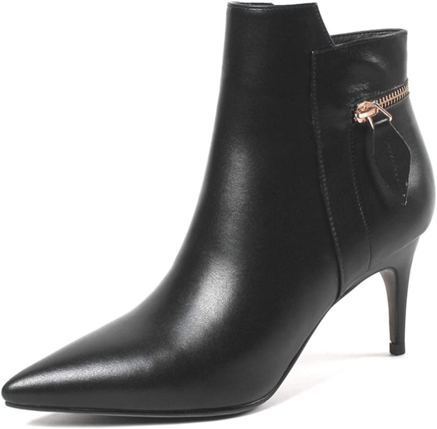 Shiney Women's Martin Boots Pointed Leather New Stiletto Heels Side Zip Low Tube High Heel Boots Autumn and Winter