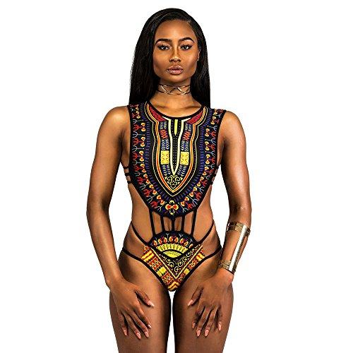 Damen Bikini SHOBDW 2018 Frauen African Print Bikini Set Bademode Push-Up gepolsterter BH Badeanzug Beachwear (XL, Schwarz)