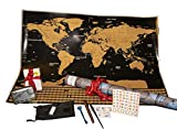 NIGHTMARE STYLE Mapa Mundi Rascar Y Tarjetero con Bloqueo RFID y NFC. Presentación para Regalar. Porta-Tarjetas para Hombre o Mujer. Viaje y Equipaje
