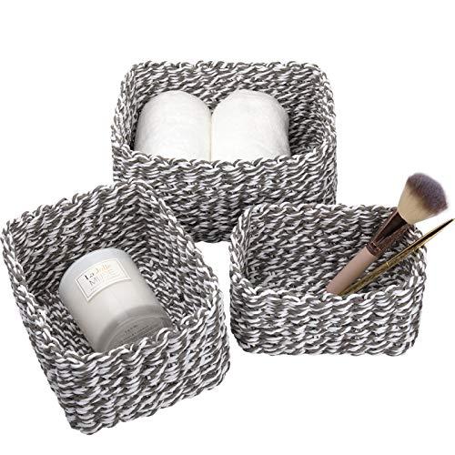 La Jolíe Muse Woven Storage Baskets, Recycled Paper Rope Bin Organizer Divider for Cupboards Drawer Closet Shelf Dresser, Set of 3 (Gray)