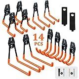 AOBEN Garage Hooks Wall Mount,14-Pack Garage Storage Organizer Utility Double Wall Hooks, Tool Hangers for Bike,Hoses,Ladders (Orange)