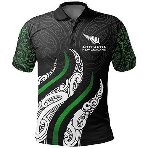 JesUsAvila New Zealand Maori World Cup Camiseta de Rugby Sudadera Bordado Deportiva de Manga Corta Hombres Jersey de Fútbol Americano Elasticidad/B/L