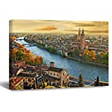 Wall Art Canvas Verona and Adige River from The Bird's Eye View Strecthed Poster Picture Ready to Hang Modern Home Art Decor, 16 x 20 Inch