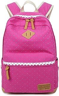 Mochilas Escolares, Mochilas Mujer de Viaje Lona Casual Bolsas Mochila para Chicas (Rosa roja)