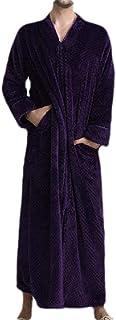 Macondoo Men's Flannel Loose Plus Size Fleece Bathrobe Full-Zip Lounge Robe