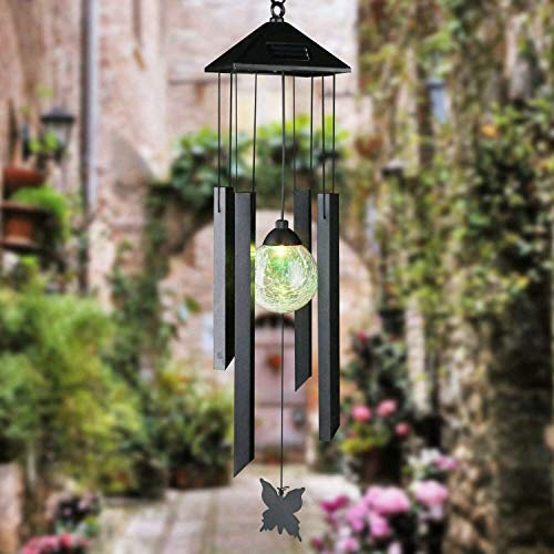 Gr8 Garden Colour Changing Hanging Solar Powered Light Wind Chime LED Lamp Spinner Outdoor Ornament