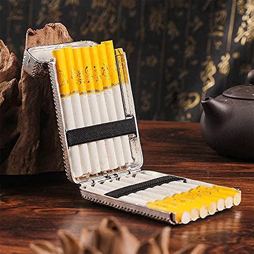 Caja De Cigarrillos Estuche De Cigarrillos De Metal con Bolsillo Tallado En 3 Lados Aleación Estuche De Cigarrillos Creativo De Tres Puertos Accesorio Esencial para Caballero Retro