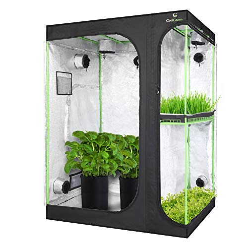CoolGrows Upgraded 2-in-1 60'x48'x80' Mylar Hydroponic Grow Tent with Easy View Window and Floor Tray, 4'x5' Tent Kit for Indoor Plant Growing