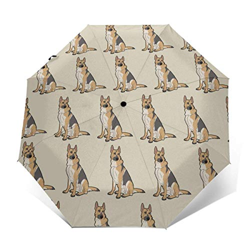 Automatischer dreifach gefalteter Regenschirm Schützen Sie Sonnenschutz Robuste winddichte leichte Regenschirme Cool German Shepherd Dog
