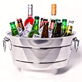"""MATERIAL: Thick, Double-Walled Stainless Steel that's designed not leak or sweat (INSULATED)! Double-Hinged Handles for max capacity lifting 3 GALLON TUB. DIMENSIONS: 14.5"""" W x 15.4"""" L x 7.5"""" H. WEIGHT: 5 Pounds KEEPS DRINKS COLD: double-walled insul..."""