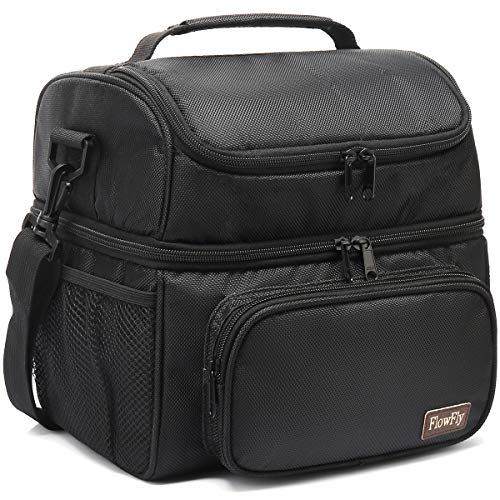 FlowFly Adult Lunch Bag Insulated 2 Roomy Compartment Thermal Lunch Box Large Reusable Double Decker Tote Cooler Bag with Detachable Shoulder Strap for Men Women kids,Black