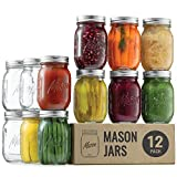 Regular Mouth Glass Mason Jars, 16 Ounce (12 Pack) Glass Canning Jars with Silver Metal Airtight Lids and Bands with Measurement Marks, for Canning, Preserving, Meal Prep, Overnight Oats, Jam, Jelly,