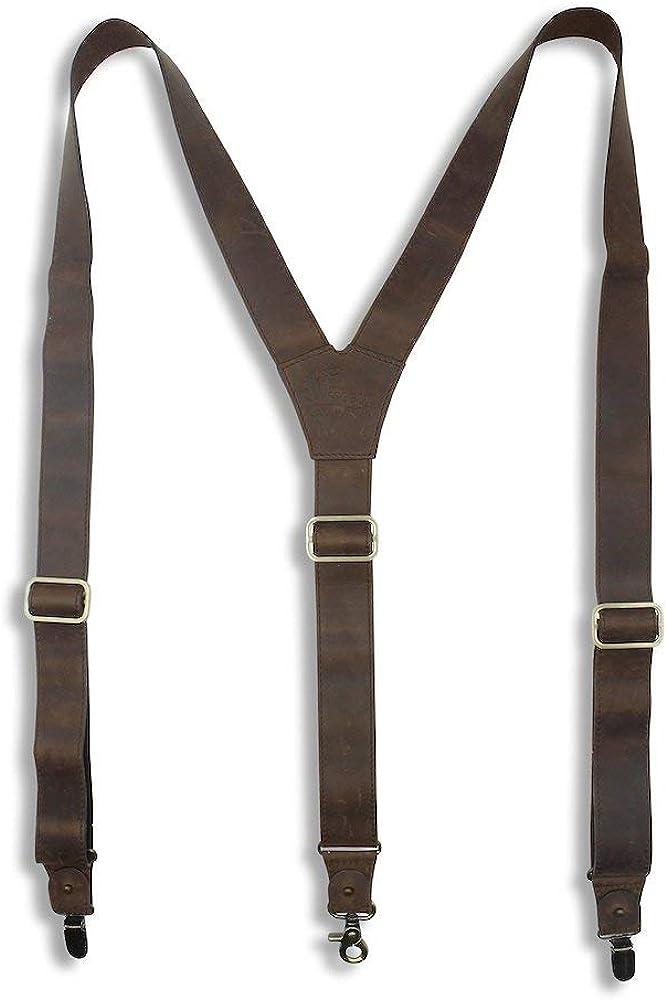 Suspenders Dark Brown Leather Wide 1.36 inch | Wiseguy Original