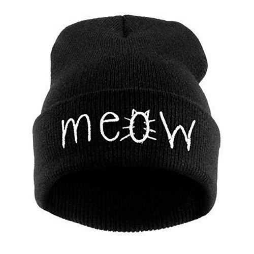 HUYURI Winter Knitting Meow Beanie Hat and Snapback Men and Women Hiphop Cap Black