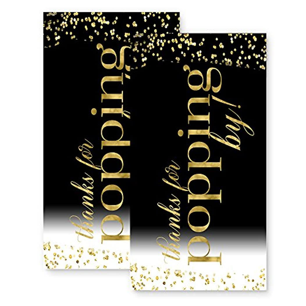 Black and Gold Popping by Favor Tags (20 Pack)