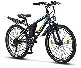 Licorne Bike Guide Bicicleta de montaña de 24 pulgadas, cambio Shimano de 21 velocidades, suspensión de horquilla, bicicleta infantil,para hombre y mujer, bolsa para cuadro,negro/azul/verde lima