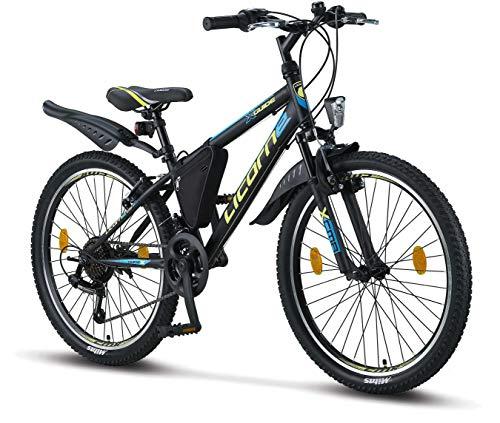 Licorne Bike Guide (Schwarz/Blau/Lime), 24 Zoll Kinderfahrrad, geeignet für 8, 9, 10, 11 Jahre, Shimano 21 Gang-Schaltung, Mountainbike mit Gabelfederung, Jungen-Mädchen-Fahrrad, Beleuchtung, MTB