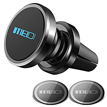 Air Vent Phone Holder MEIDI Universal Magnetic Phone Car Mount 360 Rotation Cell Phone GPS Holder Compatible iPhone Samsung HTC and Mini Tablets Black