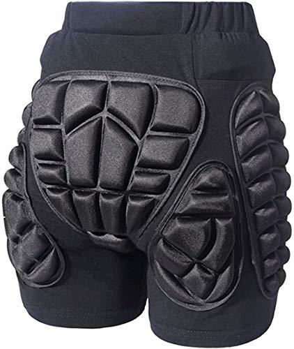 COOLOMG Schutzhosen Snowboard Shorts 3D Gepolstert Protektorhose Atmungsaktive für Kinder Herren Damen Skater Schwarz XL