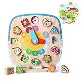 Gioco Orologio in Legno 5 in 1 Orologio Giocattolo Bambino Montessori Regalo con Forma Colore Ordinamento Puzzle e Numeri Educativi per Bambini 1 2 3 4Anni