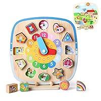 5 giochi in 1 orologio educativo: i bambini imparano a dire l'ora. Ordinamento del giocattolo puzzle: per imparare a distinguere il colore e le forme. Compito: Coltiva il tuo bambino per costruire solide basi per comprendere la natura e il senso comu...