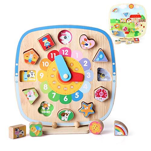 BeebeeRun Holzuhr Spielzeug 5 in 1 Pädagogische Lehre Lernuhr mit Form Farbe Sortieren Puzzle und Zahlen für Jungen und Mädchen Kleinkind Baby Kinder 1 2 3 4 Jahre alt