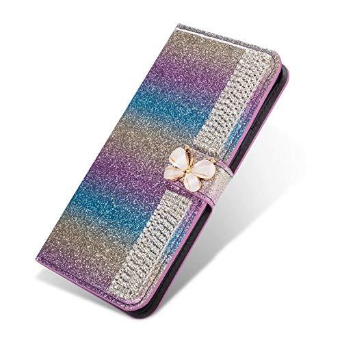 Nadoli Leder Hülle für Huawei P30,Bling Glitzer Diamant 3D Handyhülle im Brieftasche-Stil Schmetterling Kette Flip Schutzhülle Etui für Huawei P30,Lila#