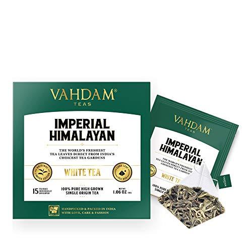 Té blanco del Himalaya imperial 15 Bolsitas de té, pirámide de hoja larga Bolsas de té...