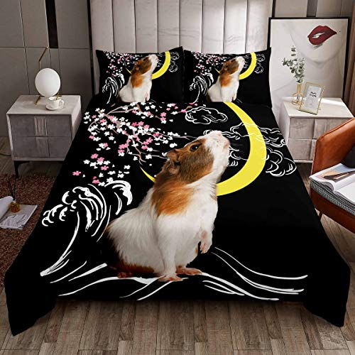Cute Guinea Pig Comforter Cover Cartoon Cavy Bedding Set for Boys Girls Kids Lovely Pet Cavy Duvet Cover Ocean Wave Floral Bedspread Cover Animal Room Decor Single Size Quilt Cover 2Pcs