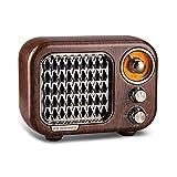 Olycism Radio portatil pequeña con Altavoz Bluetooth Radio Vintage con Batería Recargable 1100mAh Admite Tarjeta TF Entrada AUX
