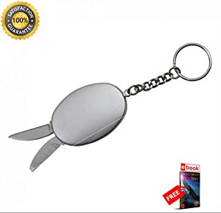 Mini Keychain Multi-Tool Sharp KNIFE Blade, File, Bottle Opener - Silver Combat Tactical Knife + eBOOK by Moon Knives