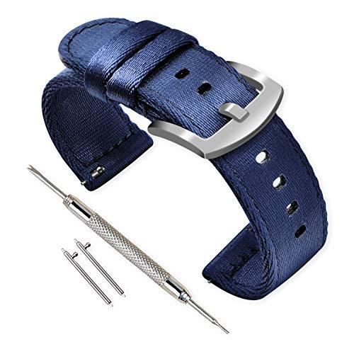 Vinband Correa Reloj Calidad Alta Nylon Correa Relojes - 18mm, 20mm, 22mm, 24mm Correa Reloj con Hebilla de Acero Inoxidable (18mm, Azul Marino)