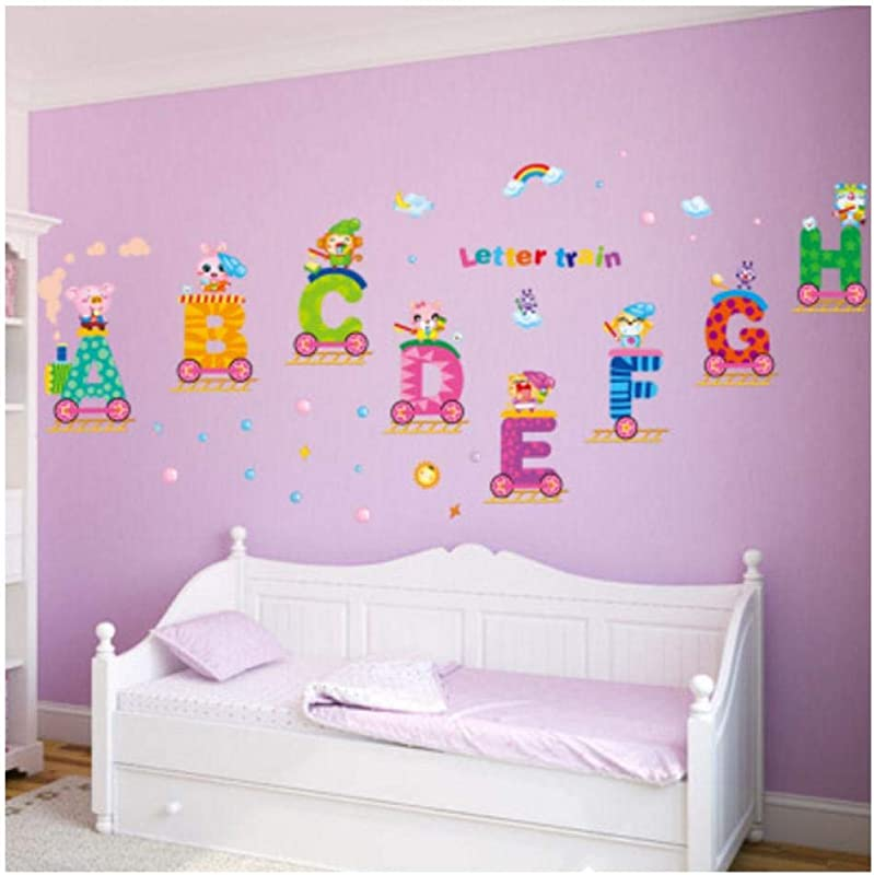 Zjxxm DIY Cartoon ABC Letter Train PVC Wall Sticker Home Decals Animal Kids Room Wall Decor Stickers Poster Wallpaper Nursery Wall Art 120x45cm
