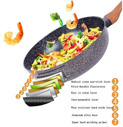 Cazuela La Estufa de Gas de inducción de Pan Wok de Pan Wok de no palmada de Pan Wok es Adecuado 24/26/28 / 30cm Frey Pans ZSMFCD (Size : 24 * 7cm)