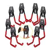 3-H Ganchos de Almacenamiento de Garaje - 8 piezas Ganchos para Colgar Gancho para Colgador de Garaje Dobles Gancho de Bicicleta de Pared para Organizar Herramientas Multifuncional (red)