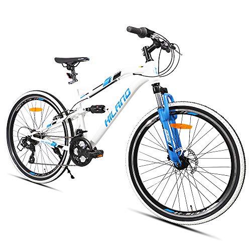 HILAND 26 Zoll vollgefedertes Mountainbike mit Scheibenbremse für Männer Frauen Jungen Mädchen, 21 Geschwindigkeiten Shimano-Antrieb, schwarz weiß