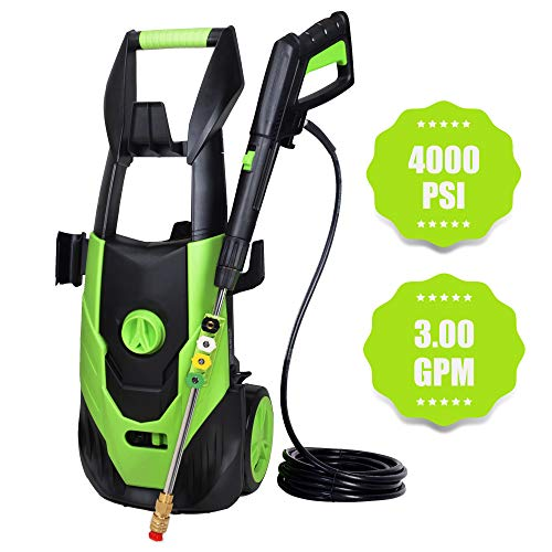 Azoran Electric Pressure Washer 4000PSI 3.0GPM, Power Washer Machine with 5 Interchangeable Tips, Garden Washer with Metal Spray Gun and 20Ft High Pressure Hose