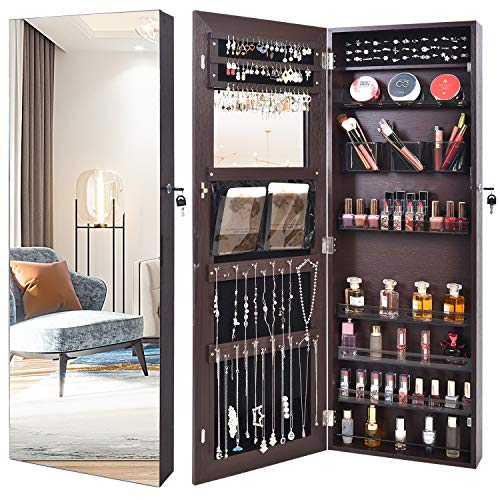 Outdoor Doit Framless Lockable Full mirror jewelry organizer Fashion Transparent box wall mounteBorderless jewelry cabinet jewelry armoire with mirrorfull length mirror hanging mirror 6181 brown