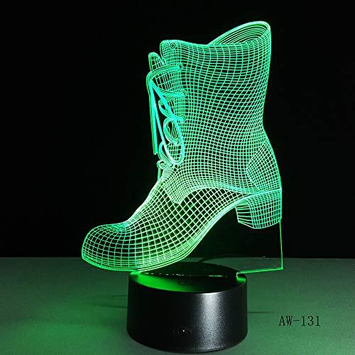 LWJZQT 3D-nachtlampje usb nachtlampje schoenen vorm tafellamp regelaar batterij Touch 7 kleurverandering decoratie voor huis cadeau Kerstmis