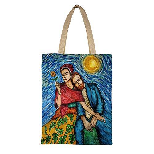 DAFUWENG Bolso Frida Tote Van Gogh Diseo Vintage Gracioso Moderno Arte Estampado Bolso Shopper de Lona